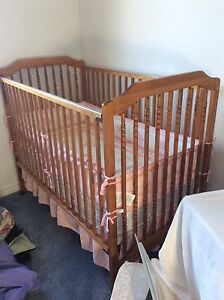 Solid oak baby crib with free car seat
