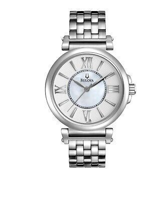 Bulova Women's 96L156 Quartz White Dial Silver-Tone Bracelet 34mm Watch