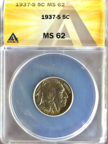 1937 S BUFFALO NICKEL MS 62 AUTHENTICATED BY ANACS 6146895 - $29.00