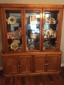 Oak cabinet and hutch