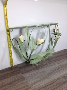 """Rustic metal shelf with green floral detail 13"""" tall x 15"""" wide"""