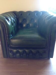 Vintage Italian Leather Chesterfield Moran single tub chair rare green Beenleigh Logan Area Preview