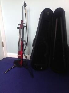 Electric violin, case, stand.