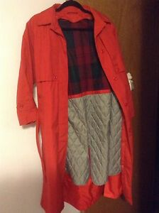 Red rain coat, jacket great colour for spring , fall