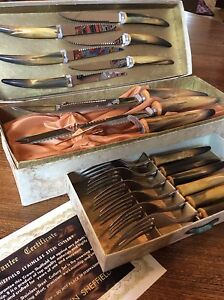 Vintage Crown Sheffield Carving Set, Steak Knives, Forks