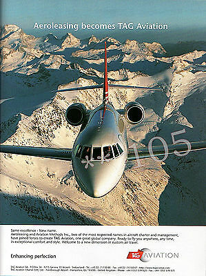 TAG AVIATION Aeroleasing ADVERT - Original 1999 Advertisement