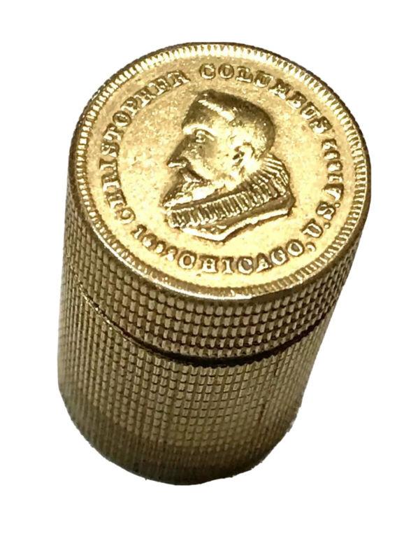 Antique Vintage 1892 Columbus Snuff Box Coin Vesta Match Safe Case Holder Old