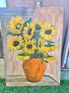 Vintage Sunflowers Oil Painting on Canvas - Excellent Condition!
