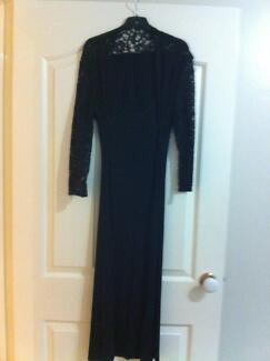 BLACK DRESS WITH LACE SLEEVES, SIZE 12, $20 (WORN ONCE)
