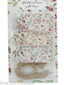 Pack 15 Gift Tags Vintage Rose Ditsy Floral Luggage Label & Twine Wedding Craft