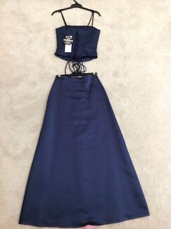 3x Brand New A-Line Satin Dresses Size 6&8 With Lace Up Back