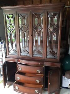 Antique Dining Room China Cabinet and Hutch