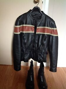 Leather Motorcycle Coat and Boots