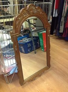 Solid wood antique mirror