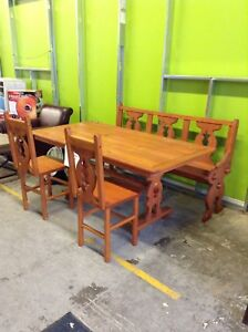 Rustic Dining Room Set with Chairs and Bench at HFH ReStore