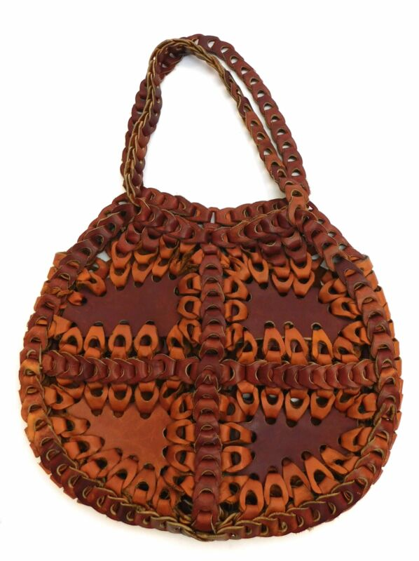 Vintage 1970s Woven leather loop handbag