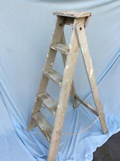 Vintage mid century rustic wooden A-frame ladder 124cm High