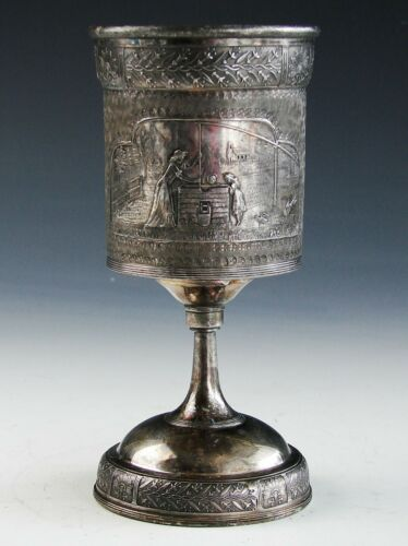 Antique Victorian Eastlake Silver Plate Reed & Barton Chalice Goblet Wine Glass