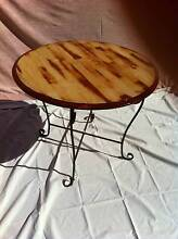 Round Table, Rustic top, Wrought Iron legs Sunbury Hume Area Preview
