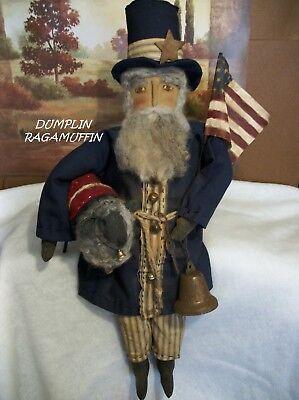 Primitive Americana Uncle Sam summer Hat Sculpted Doll Paper Patten