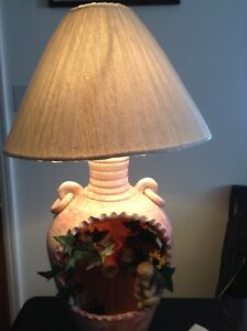 Table lamp with water fountain