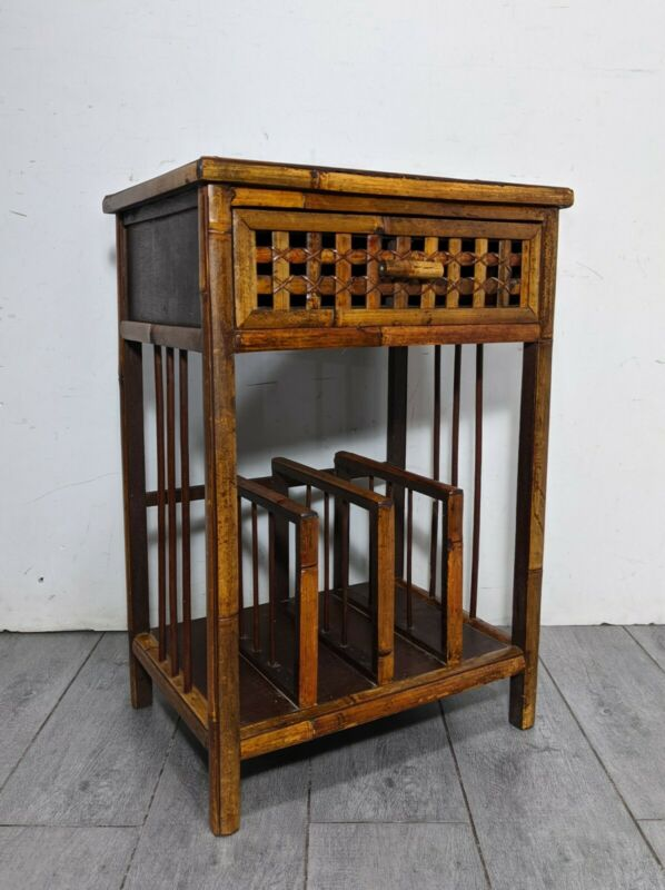 Vintage Woven Top Bamboo End Table Magazine Rack Mid Century Modern Boho Chic