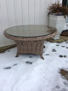 "Patio table, quality resin wicker, like new, 39"" wide x 20"""