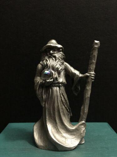 Rawcliffe Pewter P Davis Metal Wizard Sorcerer Crystal Staff Miniature Figurine