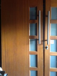 Solid timber double front doors