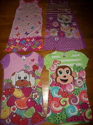 KOMAR KIDS NIGHTGOWN PJ  PAJAMAS BUTTERFLY CATS DOGS MONKEY GIRLS SZ L 10 12