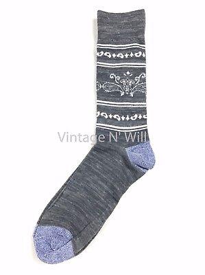 Lucky Brand Jean Men Gray /Blue/ White Striped Bandana Paisley Mid Cut Sock
