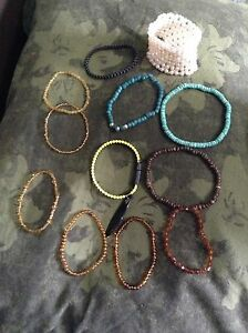 Bracelets, rings, a brooch, etc.