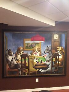 Dog playing poker painting