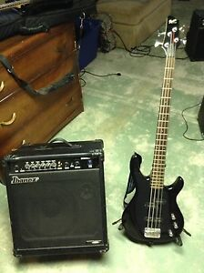 Squire Bass Guitar and Amp