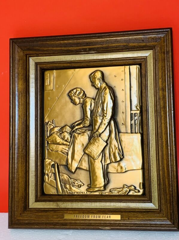 """Vintage Norman Rockwell Solid Bronze Framed  Framed """"Freedom From Fear"""" Plaque"""