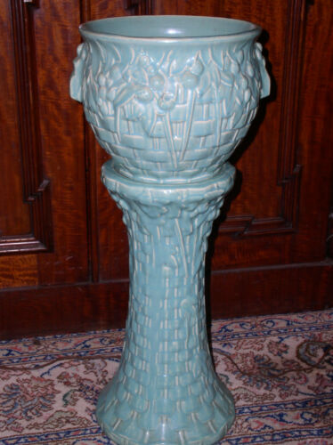 McCoy Jardinière & Pedestal~Vintage Teal Turquoise Weave Pattern~No Chips/Cracks