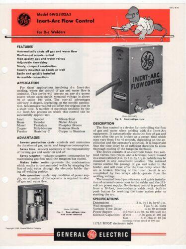 "1951 GE Ad Sales Sheet: ""Model 6WGJ102A3 Inert-Arc Flow Control For D-c Welders"""