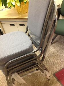 NEW STACKABLE METAL PADDED DINING CHAIRS