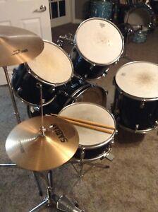 Black torque drumset with Sabian cymbals