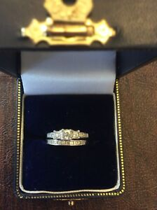 14K white gold and diamond engagement ring and wedding band