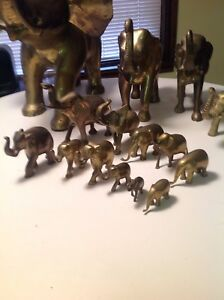 Collection of brass elephants