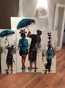 Balinese ceremony set of 3 canvas Greenvale Hume Area Preview