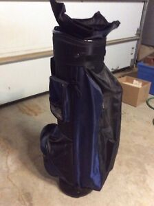 Blue and Black Golf Bag with Cart