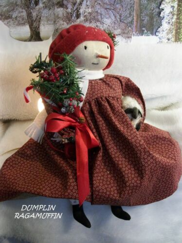 Pattern,sewing,Primitive doll,Christmas,Snowman, girl, by Dumplinragamuffin,#200