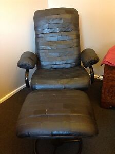 Leather Reclining Chair with Footstool Rankin Park Newcastle Area Preview