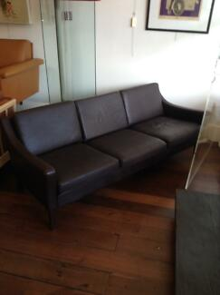 Danish Mid-Century Sofa Leather Retro