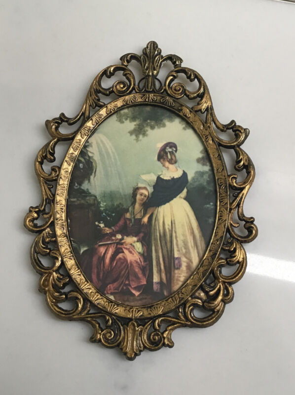 (15024) Vintage Brass Picture Frame Ornate Oval Made In Italy