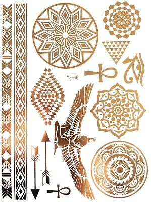 GOLD FLASH Temporary Tattoos Flügel Federn Ornamente Sommer Goldtattoo  YS 48