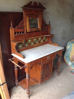 Antique Victorian original washstand with marble top