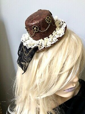 Gold Mini Top Hat (Steam Punk Brown Mini Top Hat Lace Veil Ivory Gears Wheel Vintage Gold)
